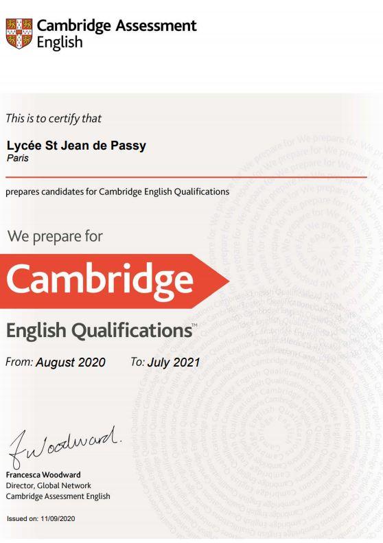 Saint-Jean de Passy centre officiel de préparation aux examens de Cambridge
